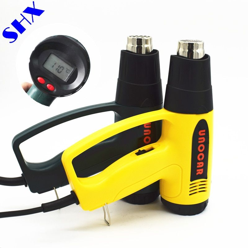 2000W 220V EU Plug Industrial Electric Hot Air Gun Thermoregulator LCD Display Heat Guns Shrink Wrapping Thermal Heater Nozzles