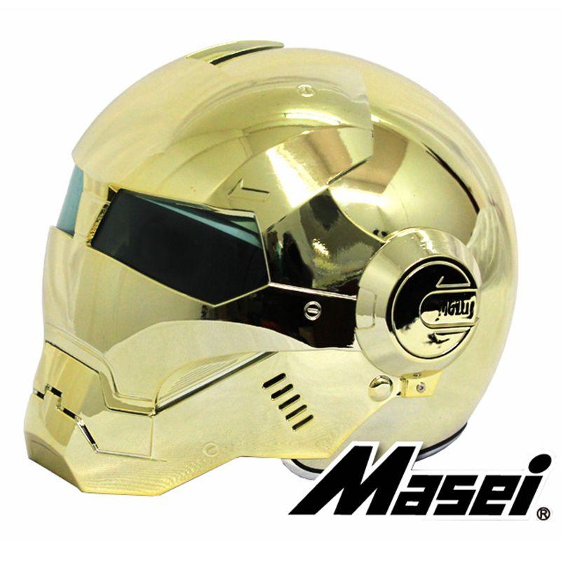 MASEI 610 galvanisieren vergoldung Chrom IRONMAN Iron Man helm motorrad helm hälfte jethelm ABS motocross