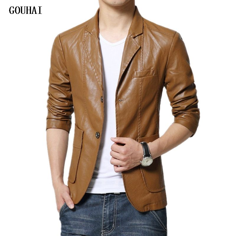 Leather Blazer Men 2018 Autumn Blazer Men Slim Fit Plus Size Slim Solid Mens Blazer Jacket M-7XL High Quality