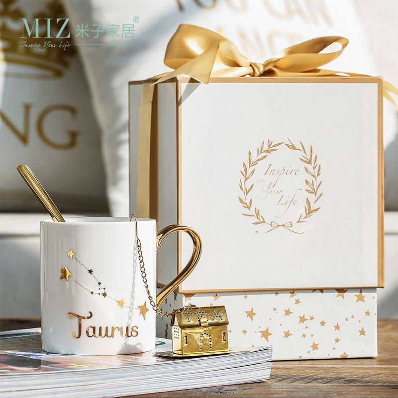 Миз дома Керамика чашки Комплект фарфор Созвездие тема Lucky кружка с подарочной коробке Рождественский подарок для друзей