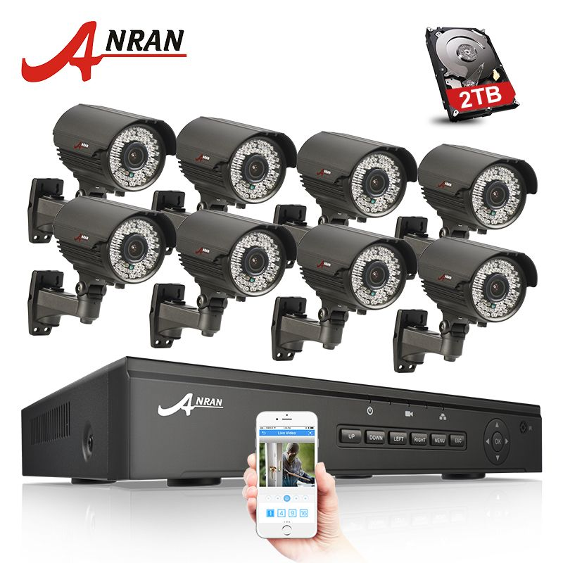 ANRAN 8CH 48V POE NVR CCTV System Onvif P2P 1080P HD Varifocal 2.8mm-12mm IP Camera POE Security Surveillance Kit