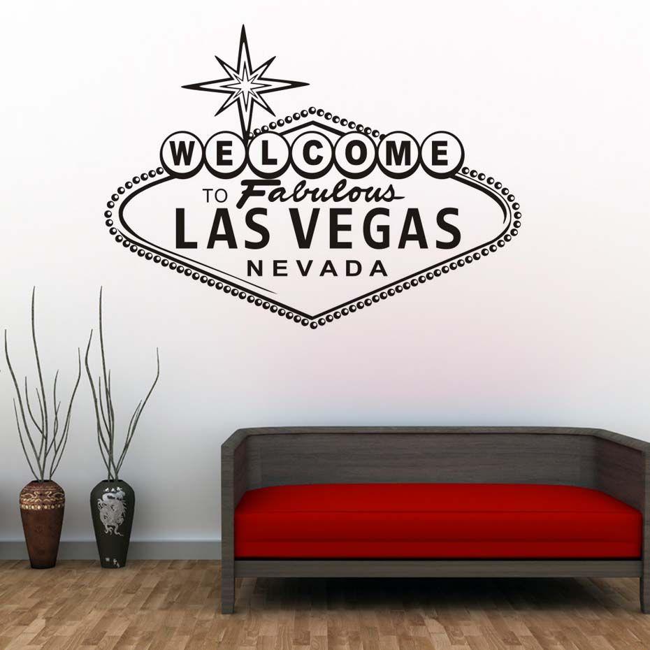 Bienvenue À Fabuleux Las Vegas autcollants muraux Moderne Nordique Conception Caractère Vinyle Art Décoratif autocollant mural Pour Salon