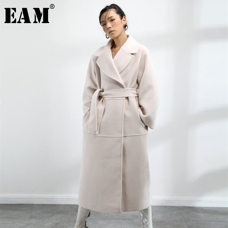 [EAM] 2018 New Autumn Winter Women Fashion Tide Solid Color Temperament Pure Oversized Adjustable Waist WollenCoat LA161