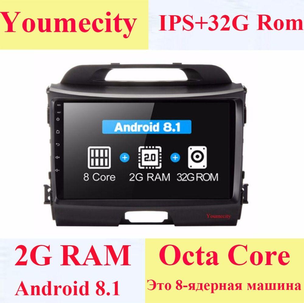 Youmecity Android 8.1 Octa Core Steuergerät Auto-DVD-spieler für KIA Sportage R 2014 2011 2012 2013 2015 Gps wifi Radio bluetooth