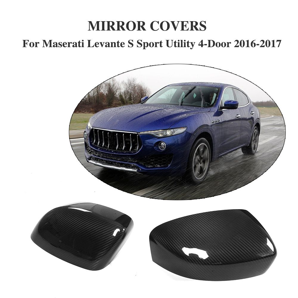 Carbon Fiber Add On Style Side Door Rearview Mirror Covers for Maserati Levante S Sport Utility 4-Door 2016-2017 2PCS/Set