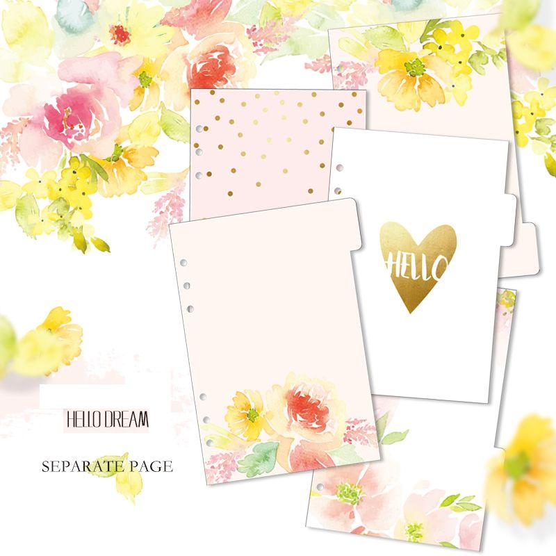 Lovedoki bonjour rêve diviseurs A5 A6 Page intérieure pour Dokibook carnet planificateur accessoires remplissage papiers pour Filofax 5 pièces dans l'ensemble
