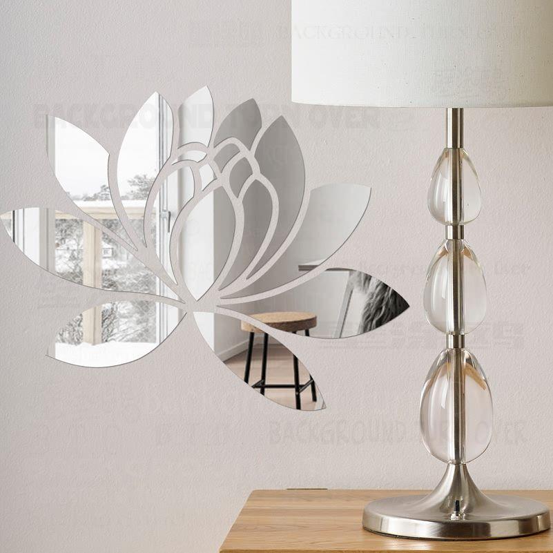 Creativo Elegante Loto 3D Espejo Pegatinas de Pared De Acrílico Decorativo Flor Casa Decoración Del Dormitorio Sala de estar Decoración Cartel R063