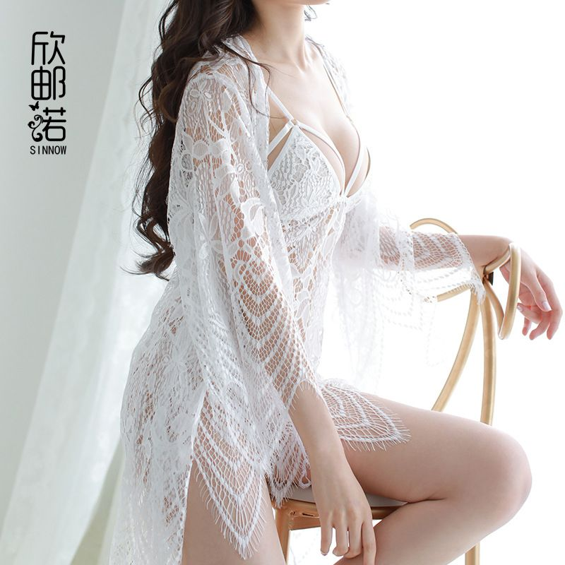 High quality sexy sleepwear Women Hollow lace suspender sleepwear + bathing  Nightdress cardigan Extreme temptation Robe & Gown