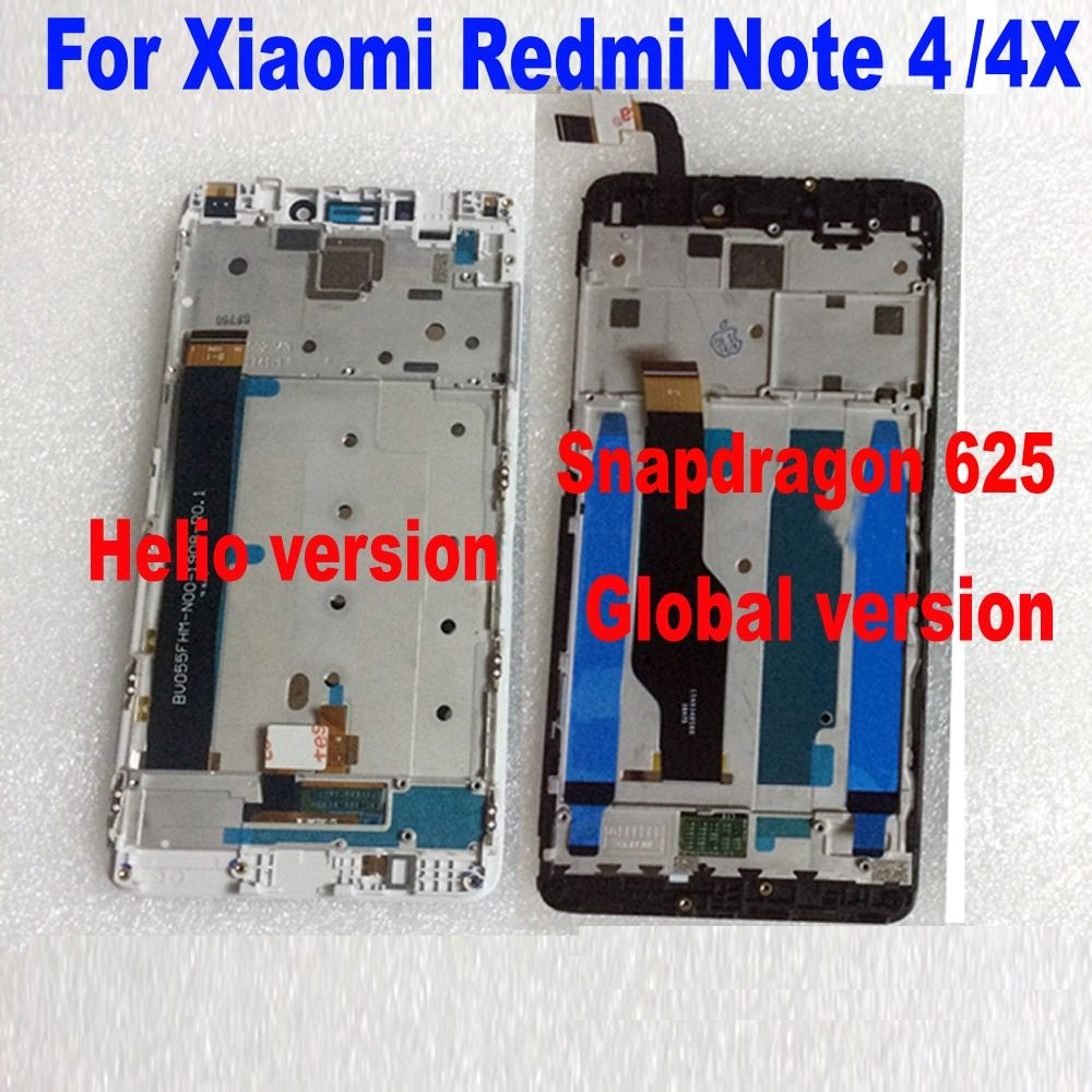 MTK Helio X20 / Snapdragon 625 Global 32GB/64GB LCD Display Touch Screen Digitizer Assembly + frame For Xiaomi Redmi Note 4 4X