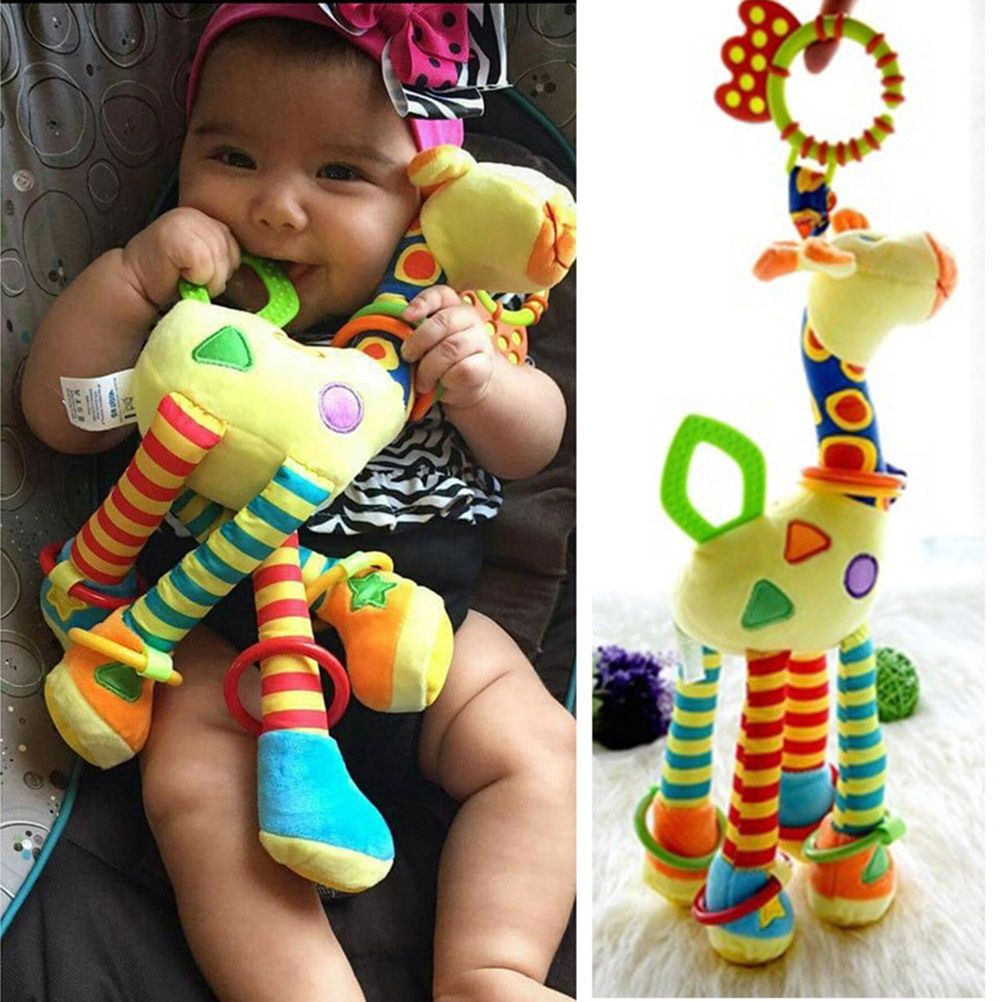 1Pcs New Deer Plush Toys Bed Baby Mobile Hanging Baby Rattle Toy Giraffe With Bell Ring Infant Teether Toys Christmas Gift