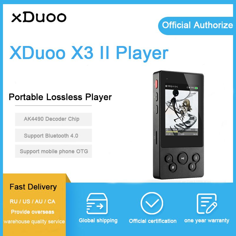 Xduoo X3II X3 II MP3 Music Player Bluetooth 4.0 AK4490 Hi Fi Audio Mp 3 Player Dsd Mini Mp3 Decoder Players for Support 256GB