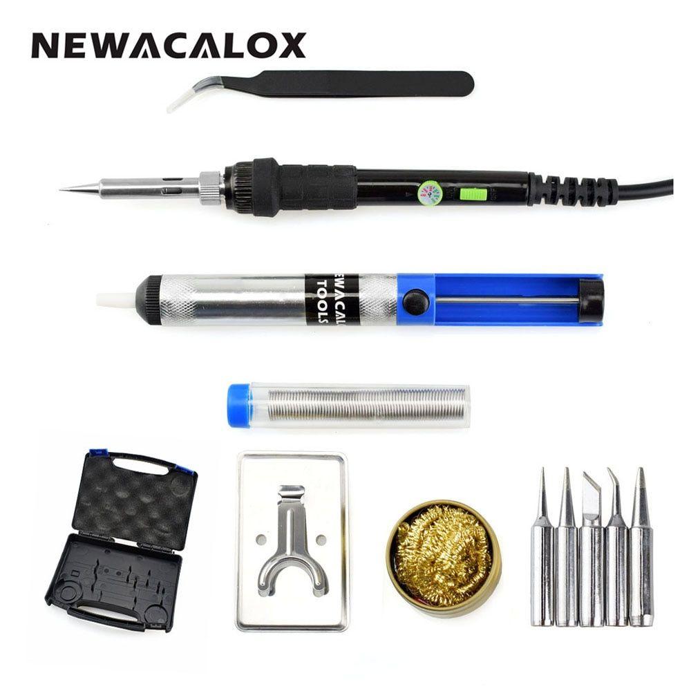 NEWACALOX Kit de fer à souder à température réglable 60W EU 220V outils de soudage de reprise avec interrupteur électrique étui de transport de fil de soudure