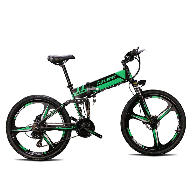 Cyrusher XF700 Unisex Folding Electric Bike Mountain Full Suspension 250 Watt 36V 21 Speeds Ebike for Outdoor Recreation Bicycle