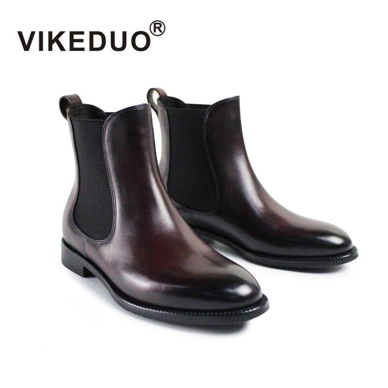 Vikeduo 2017 Invierno de las mujeres Botas de la Marca de Lujo Zapatos de Moda Botas de cuero Genuino Para Las Señoras Más Reciente Manual Cepillo Color Chelsea
