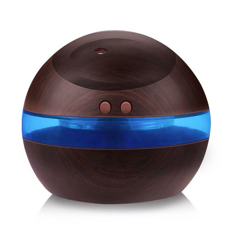 USB Humidificateur À Ultrasons, 300 ml Aroma Diffuseur Huile Essentielle Diffuseur Aromathérapie Mist Maker Avec Bleu LED Lumière (Foncé Bois)