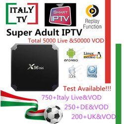 Super IPTV Abonnement X96mini Android tv box Italie L'albanie Allemand ROYAUME-UNI 5000 + En Direct 50,000 VOD + Adulte xxx iptv m3u mag Smart tv box