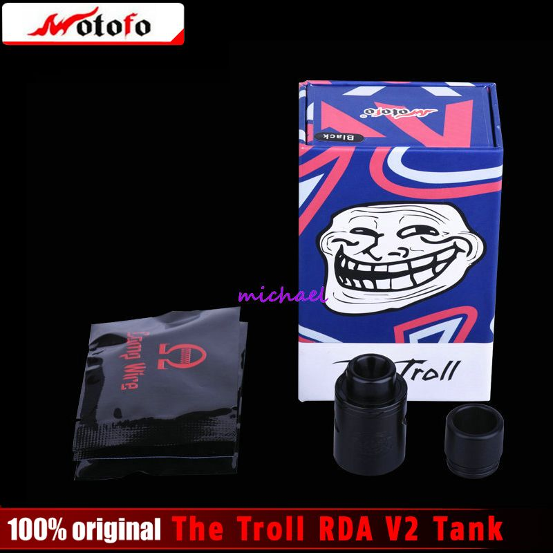 100% Original Wotofo The Troll RDA V2 Tank 10mm Deeper Deck Reverse Adjustable 510 Pin Electronic Cigarette Atomizer