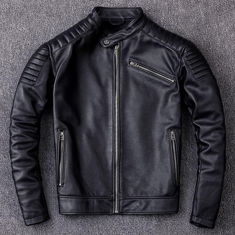 HARLEY DAMSON Black Men Leather Motorcycle Jacket Plus Size XXXL Winter Slim Fit Short Genuine Cowhide Biker's Leather Coat