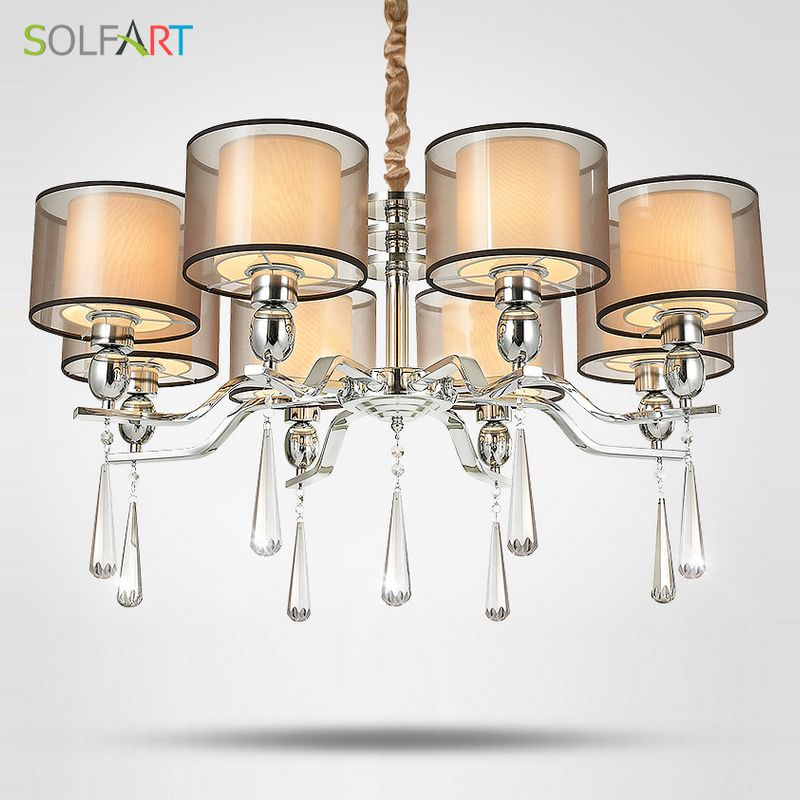SOLFART Lamp Chandelier lighting for bedroom as Pendant with smoky Crystal Fabric Shade chrome led chandeliers light