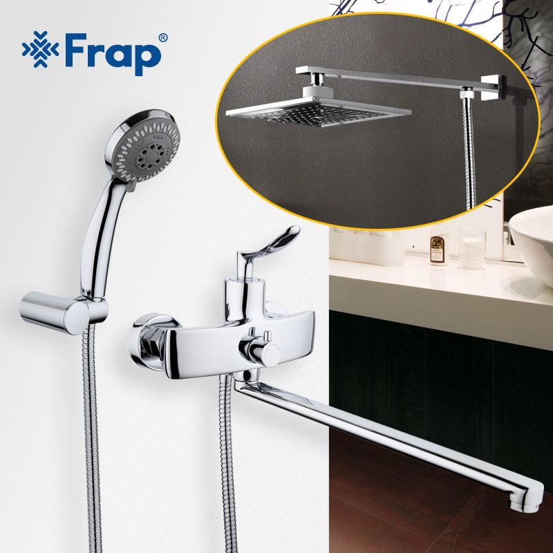 Frap New Arrival Single Handle Bathroom Mixer 35cm Stainless Steel Long Nose ABS shower head with stainless steel arm F2281F2406