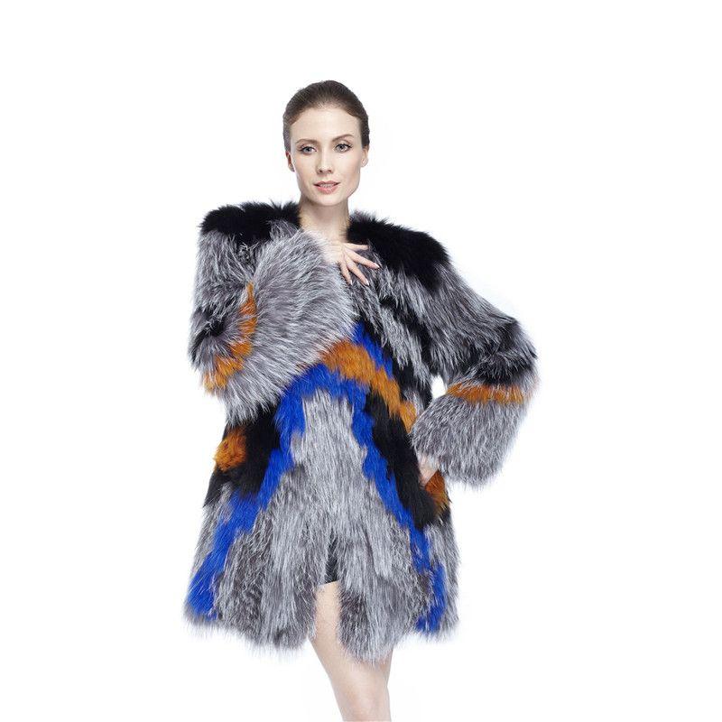ZY89014 Damen Herbst und Winter Mode Luxus Frauen Echt pelz Mit Silber Fuchspelz O-ansatz Dachte Taste Mantel Lange Jackt