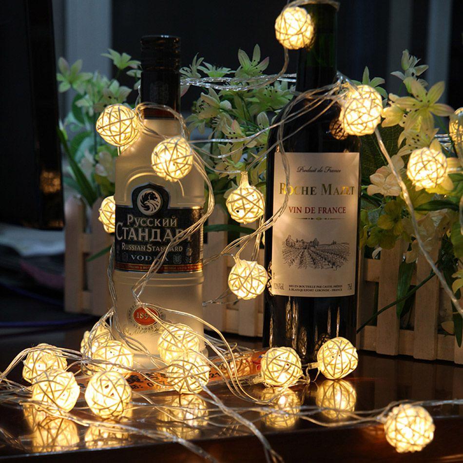 5 mètre 40 pièces à la main rotin boule a mené la lumière de ficelle par 3 pièces AA batterie Fée lumière de fête/mariage/décoration De Noël