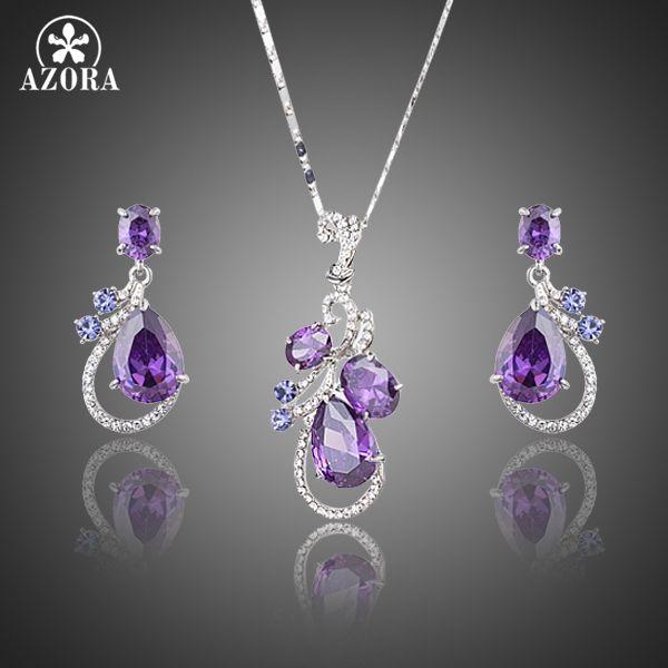 AZORA Lastest Emitidos Púrpura Top grado Cubic Zirconia Pendientes de Gota de Agua y Collar Colgante de Joyería Fija TG0173