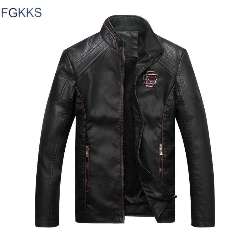 FGKKS 2018 New Brand Leather Jackets Men Jaqueta De Couro Masculina Avirex Leather Suede Jacket Mens Stand Collar Jacket Coats