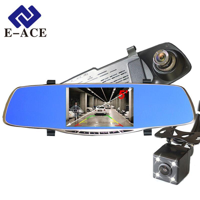 E-ACE Full HD 1080P Car Dvr Camera Avtoregistrator 5 Inch Rearview Mirror Digital Video Recorder Dual Lens Registrar Camcorder