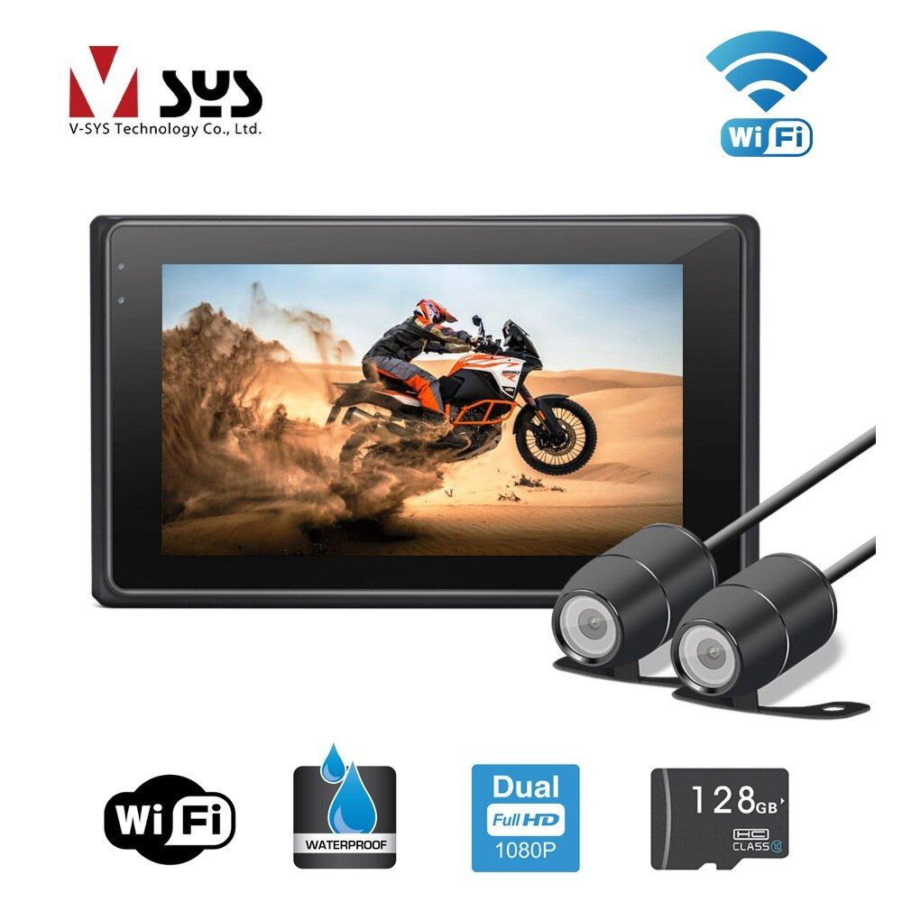 VSYS 3.0'' M2F WiFi Support 1080P Full HD Motorcycle Dual Camera DVR Dash Cam Front & Rear View Waterproof Cameras, GPS G-sensor