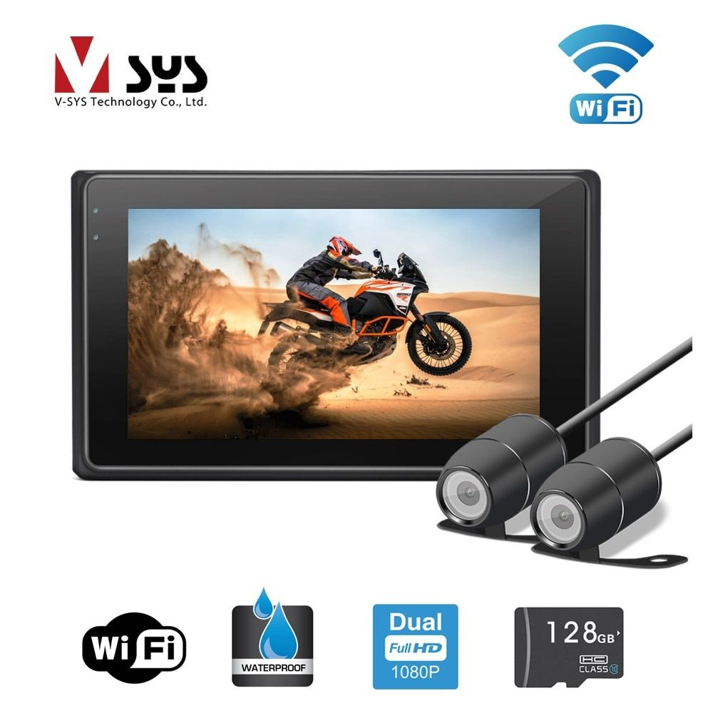 VSYS 3.0'' M2F WiFi Support Dual Camera 1080P Motorcycle DVR Motorbike Dash Cam Front & Rear View Waterproof Cameras, GPS track