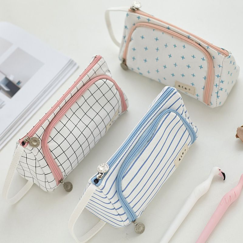 Creative Grid Large Capacity Pencil Case Girl Boy Student Multifunction Stationery Pen Brushes Bag Pouch Box School Gifts