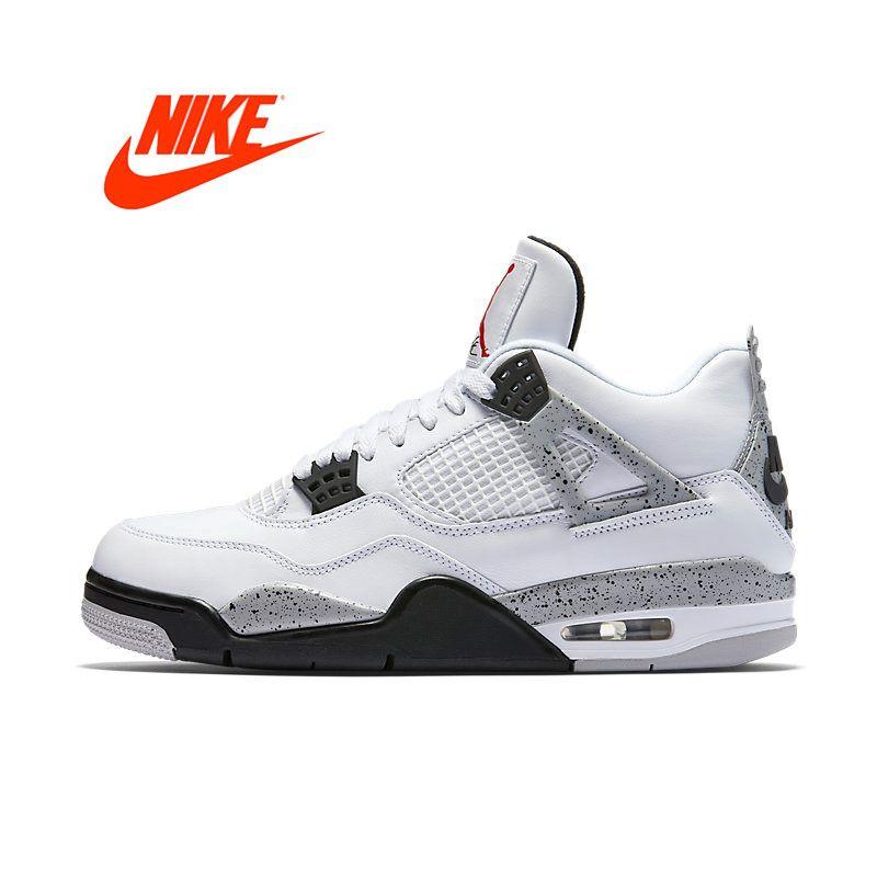 Offizielle Ursprüngliche Nike Air Jordan 4 OG AJ4 Weißzement herren Basketball-schuhe Sneakers840606-192