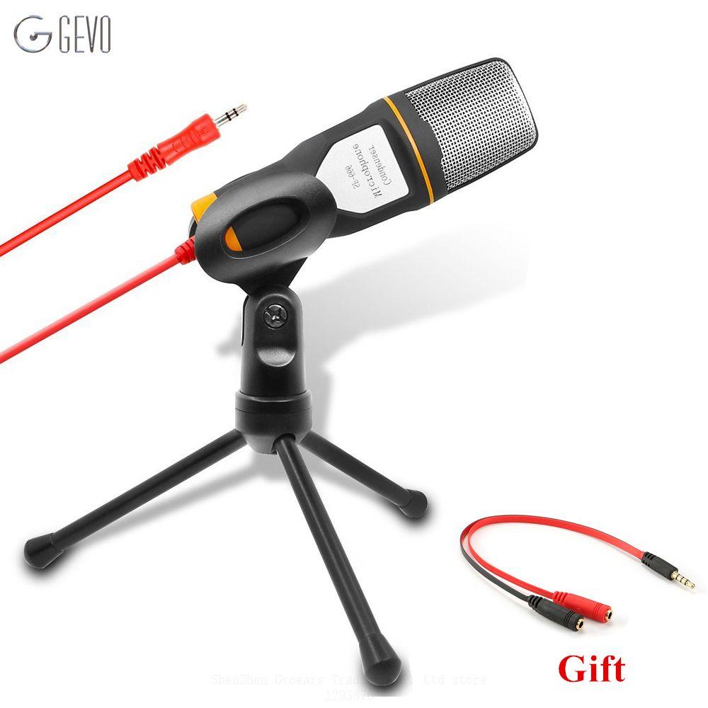 GEVO SF-666 Ordinateur Microphone Professionnel 3.5mm Jack Filaire Avec Support Trépied De Poche Mic SF666 Pour PC De Bureau Voix Enregistreur