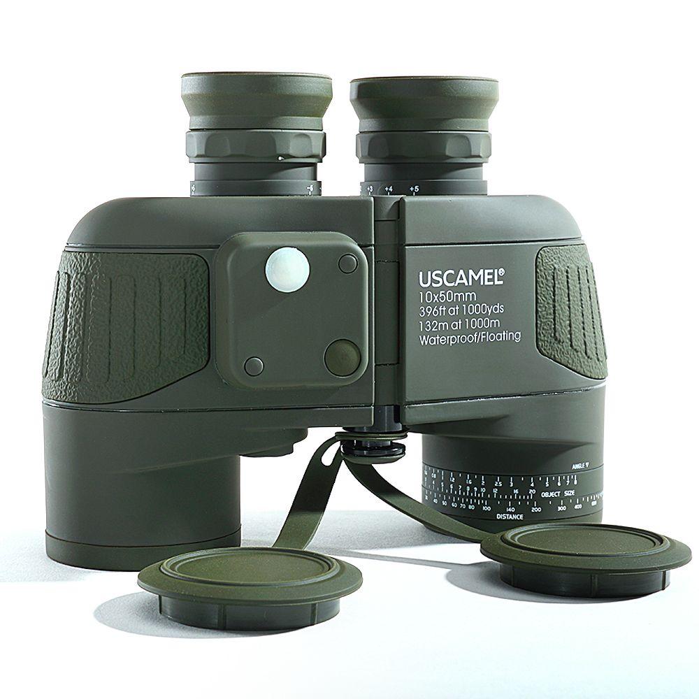 Jumelles marines militaires 10x50 HD Zoom télémètre boussole télescope oculaire étanche azote armée vert USCAMEL