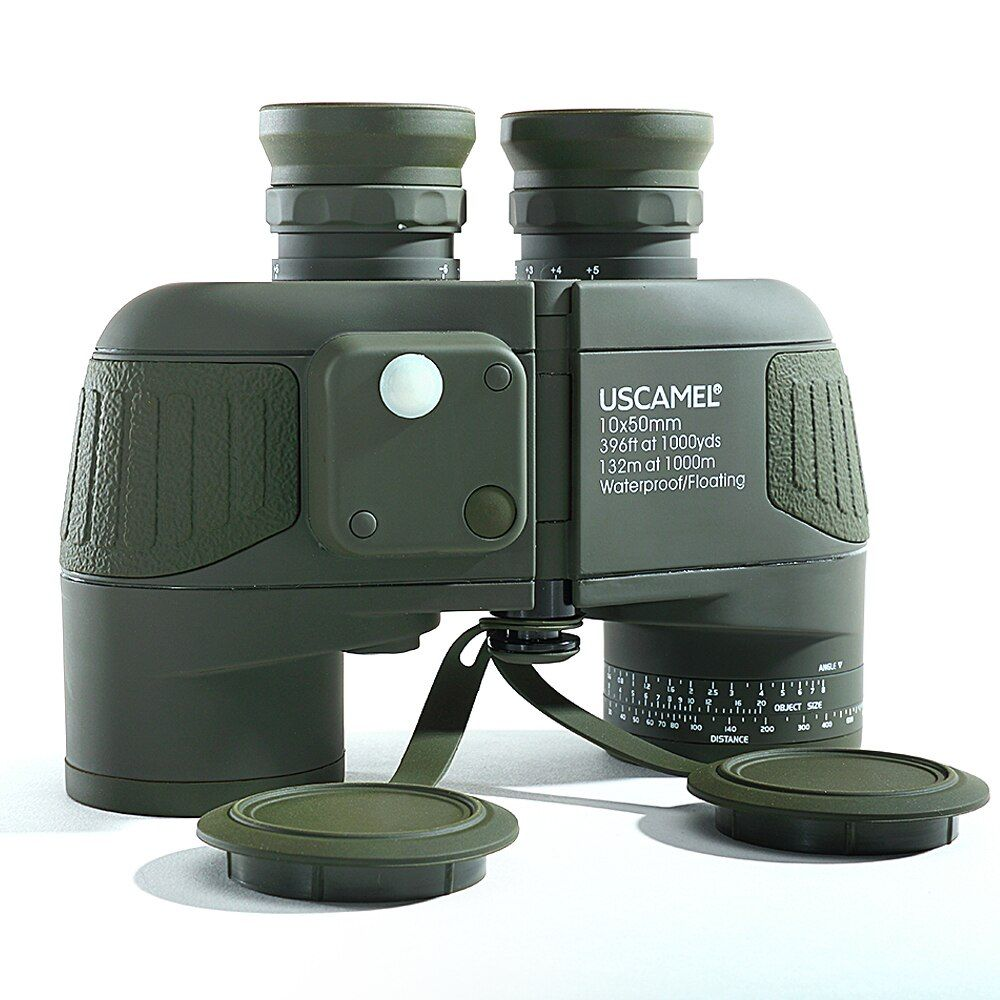 Military 10x50 HD Marine Fernglas Zoom Entfernungsmesser Kompass Teleskop Okular Wasserdicht Stickstoff Armee Grün USCAMEL