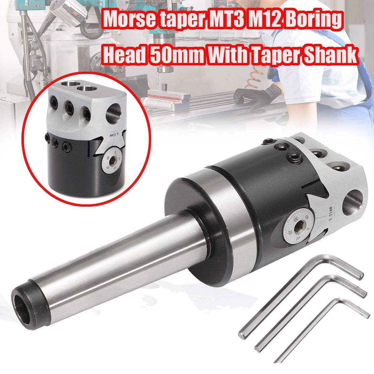 1Set 50mm MT3-M12 Universal Usage Boring Head With Morse Taper Shank For Lathe Milling Tool