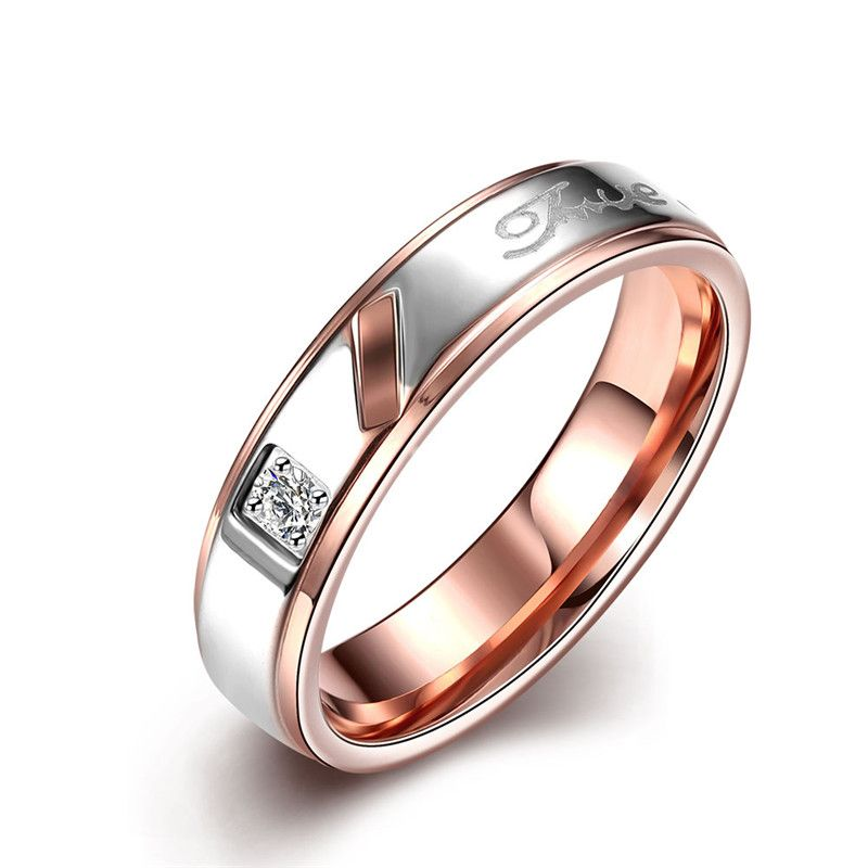 KimJ Ring set of Women style (Women ring only), Rose gold color, Match Man ring is KJ-TGR100-A, suggest order by set