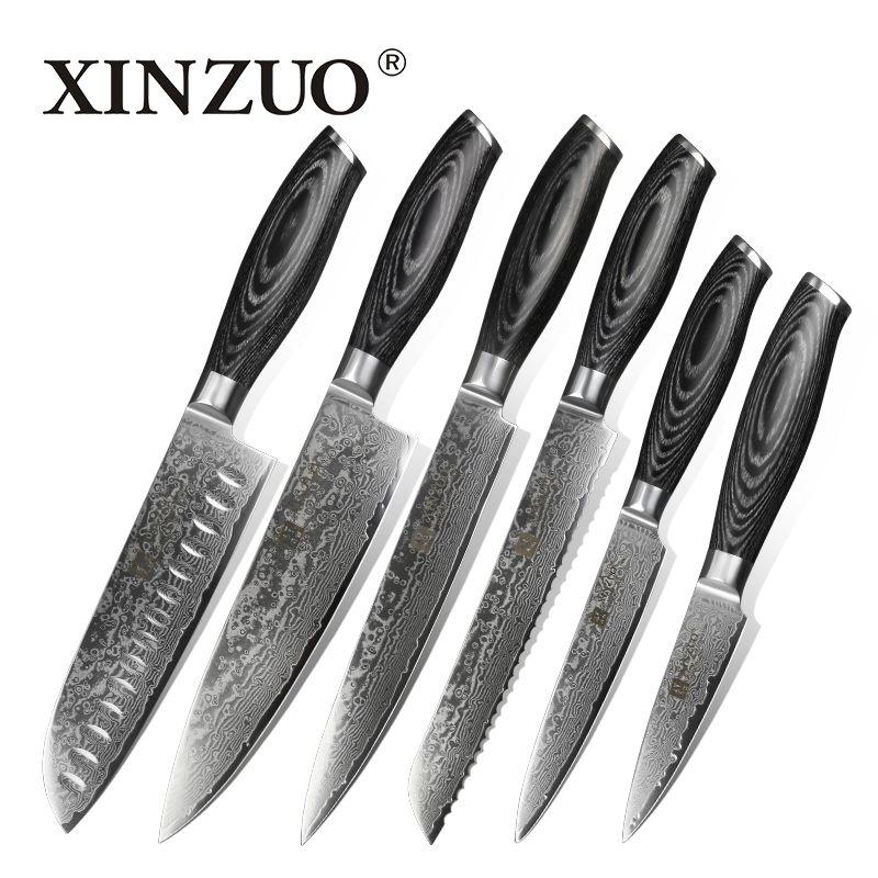 XINZUO 6 stücke küchenmesser set 67 schichten high carbon japanische VG10 damaststahl koch santoku messer pakkaholz griff
