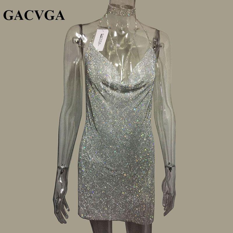 GACVGA 2017 Crystal Metal Halter Shining Summer Dress Women Beach Dress Sequin Mini Sexy Party Dresses Vestidos