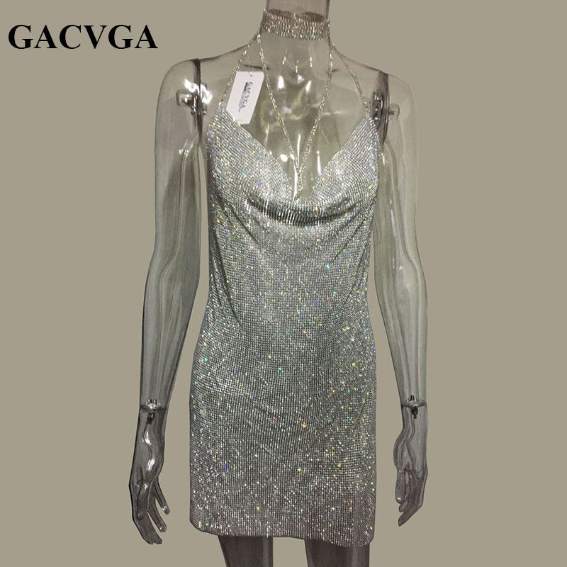 GACVGA 2018 Crystal Metal Halter Shining Summer Dress Women Beach Dress Sequin Mini Sexy Party Dresses Vestidos