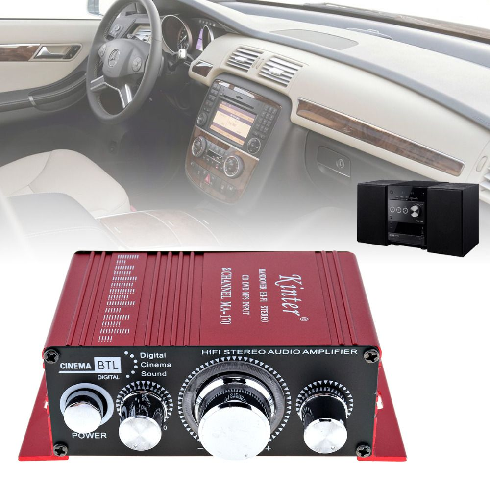 Kinter Mini 2CH HiFi Stereo Car Power Amplifier Booster Audio Amplifier AMP Support DVD CD MP3 Input for Auto Motorcycle Home