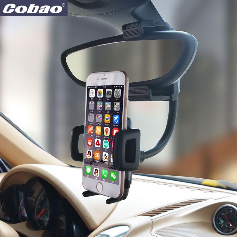 Cobao universel de voiture rétroviseur support de téléphone stand flexible mont titulaire pour Iphone 5s 6 6 s 7 plus Samsung galaxy s4 s5 s6