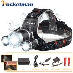 Lampu LED 12000 Lumen 3 X XML T6 LED Lampu Senter Lampu Depan LED Memilih Baterai Charger untuk Camping/ berburu/Memancing