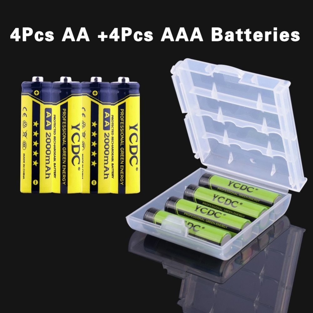 8 pcs 16pcs AA/HR6 AAA/LR3 Original Baterias Ni-MH 2000 mAh 1.2V Battery Rechargeable Battery For laser pointers,for flashlights