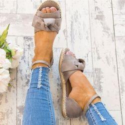 Femmes Sandales Plus La Taille 35-44 Plat Sandales Mode Bowknot D'été Chaussures Femmes Peep Toe Casual Chaussures Boucle Sangle Sandales Femme