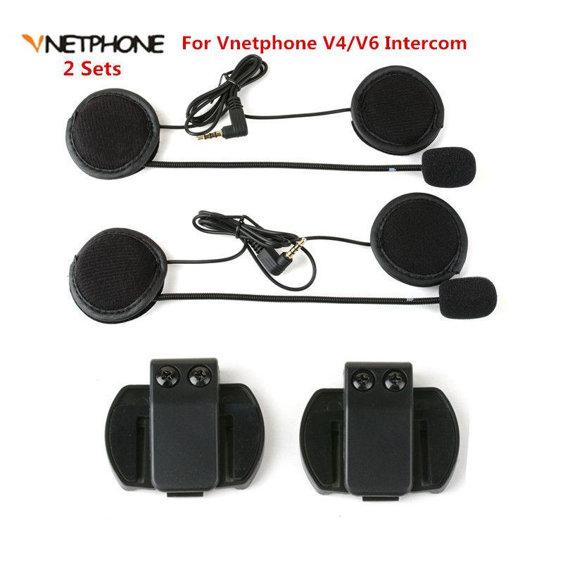 2PCS Headset Microphone Headphone Speaker&Clip Accessories ONLY Suit for V6/V4 Moto Bluetooth Helmet Intercom Headset Interphone