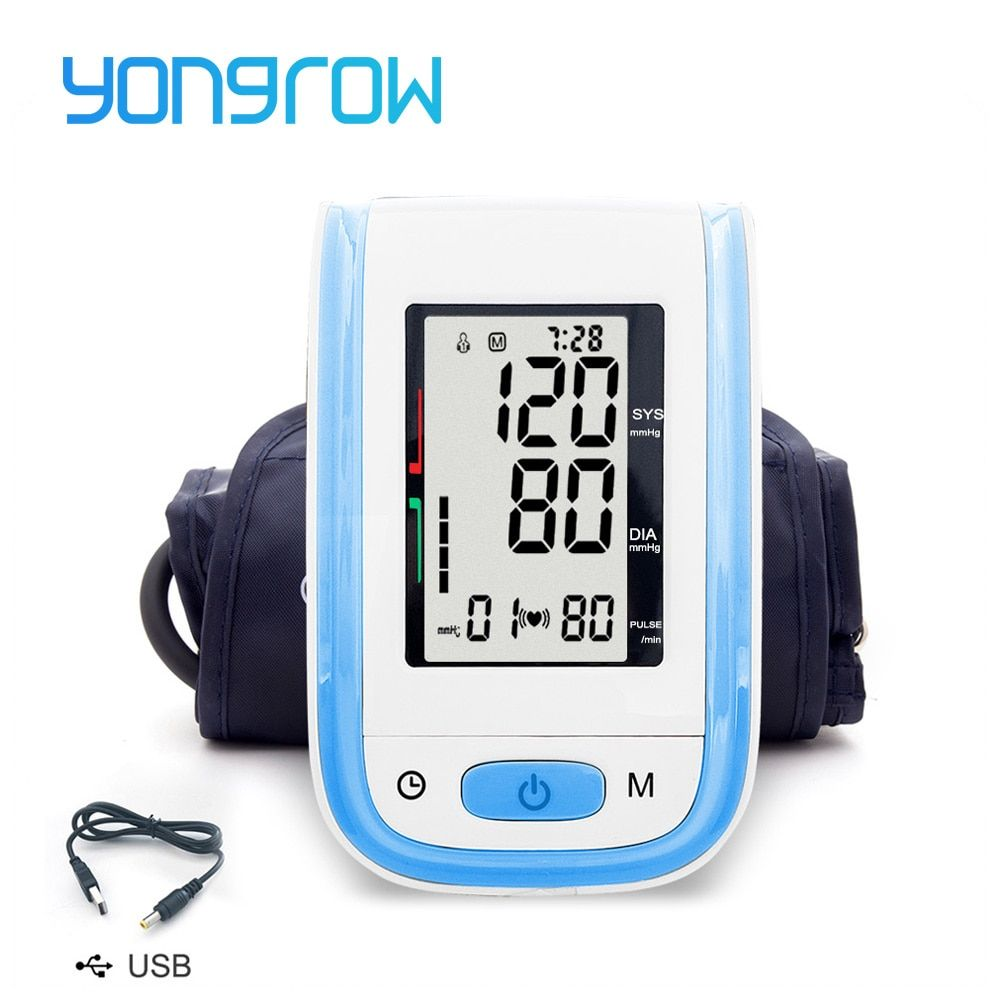 Yongrow Digital Arm Blood Pressure Monitor Sphygmomanometer Tonometer Customized Blood Pressure Monitor optional Larger Cuff