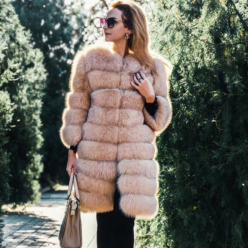 Tatyana Furclub Fur Coat Real Natural Fox Fur Jacket Winter Detachable Jacket Luxury Fox Fur Coat Long Women Winter Fox Vest