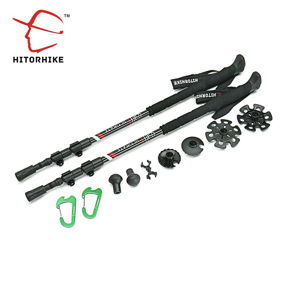 210g/pc carbon fiber external quick lock Trekking pole hiking telescope stick nordic walking stick Shooting Crutch Senderismo